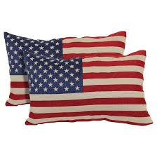 Red American Flag Toss Throw Pillow 2 Pack 13