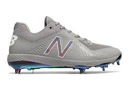 new balance metal baseball cleats. quickview loading close · miami sunset pack low-cut 4040v4 metal cleat, grey with white new balance baseball cleats