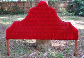 bedroom royal red velvet tufted headboard which deliver classical