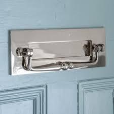 Door furniture Plywood Nickel Letterplate With Clapper Front Door Furniture Door Knockers Letter Plates Door Pulls