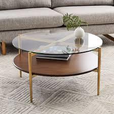 interior mid century art display round coffee table walnut west elm quoet superb 0