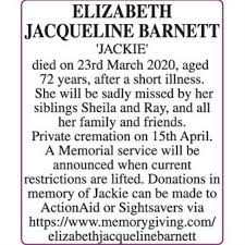 ELIZABETH JACQUELINE BARNETT (JACKIE) - Death - Herts Advertiser Series  Announcements - Family Notices 24