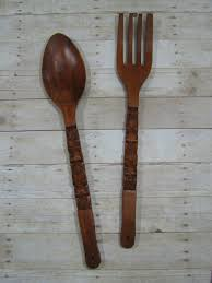 fork and spoon wall art wooden fork and spoon wall decor cute decorative wall clocks