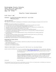 Literacy Specialist Sample Resume