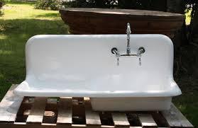 1920 s cast iron porcelain drainboard farmhouse sink 42 x 20 refinished