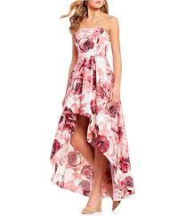 Shop For Xtraordinary Strapless Floral Print Long High Low