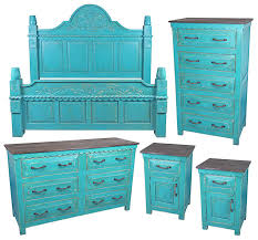 mexican painted furnitureMexican Painted Wood 5Piece Bedroom Set