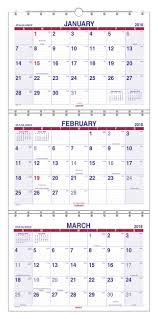 At A Glance Wall Calendar 3 Month View Dec Jan Cream