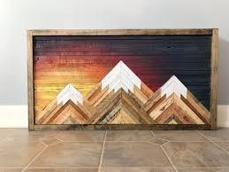 mountain wood wall art decor 24in x