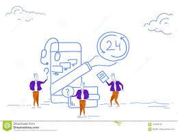 Businessmen Support Online Service 24 Hours Concept Mobile