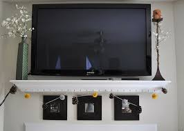 ... Shelving Under Wall Mounted Tv White Stained Wooden Decorative Shelf  Hanging Shelves Under Tv Wall Mounted ...