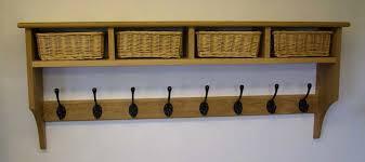 Wall Coat Rack With Baskets Mesmerizing Amusing Wall Coat Rack With Shelf 32 Wonderful Mount Of Racks