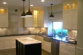 kitchen pendant lighting over island. White Kitchen Remodel With Black Industrial Pendant Lights Over Island Lighting O