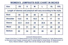 Womens Jumpsuit Size Chart Size Chart Goldensleather