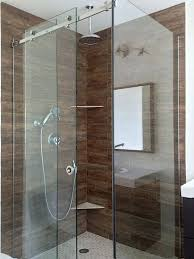 frameless corner sliding shower glass enclosure with two fixed panels and one movable panel in the recycled glass shower wall panels