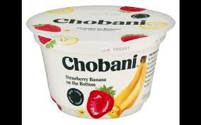 nutrition chobani strawberry banana on the bottom low fat greek yogurt