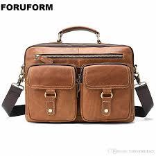 mens business briefcase vintage handbag genuine leather satchel bag 13 inch laptop bag shoulder gift for men li 2332 321788 bags briefcase for women