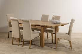 Dorset Natural Solid Oak 4ft 7 Extending Table With 6 Scroll Back