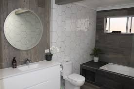 white tile hexagon shape with dark grout