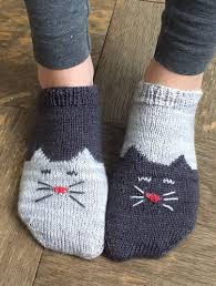 Sock Knitting Pattern Simple Free Knitting Pattern For Yinyang Kitty Socks Toeup Ankle Socks
