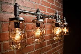 ball jar lighting. Industrial Lighting - Mason Jar Light Steampunk Bar Chandelier Wall | Lighting, Lights And Ball F