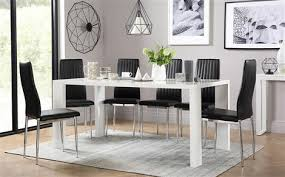 eden 170cm white high gloss dining table with 4 leon black chairs