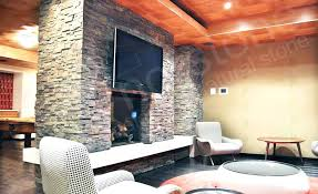 stacked stone panels fireplace faux
