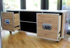 Each trunk coffee table is finely crafted from fsc (forest stewardship council) certified recycled teak wood, polished aluminum frame and rivet details. Flight Case Tv Stand Coffee Table Flight Case Furniture
