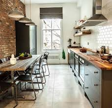 Kitchen: Industrial Kitchen With Exposed Brick Wall Decor - Exposed Brick  Walls