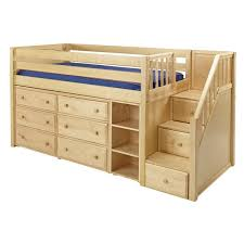 GREAT1 NP : Low Loft Bed with Staircase, 6 Drawer & Narrow Bookcase : Twin