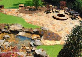 flagstone patio with fire pit. Bring Your Parties Outdoors With A Fire Pit Patio. Pits Are Great For Family Time. Stone: Brown Flagstone And Mixed Fieldstone. Patio