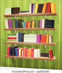 cartoon library bookshelf on the wall csp50202267