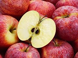 apple food. several red apples with cut apple in the foreground. food