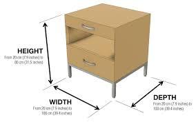 fanciful bedside table dimension modern affectionately side custom furniture standard cm mm in foot nz uk