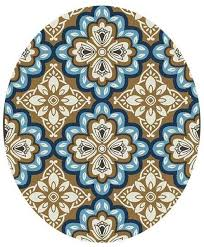 picture of freya latte blue medallion 8rnd outdoor rug