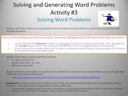 solving and generating word problems activity 3 solving word problems