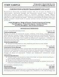 Construction And Project Management Specialist Resume Example Build