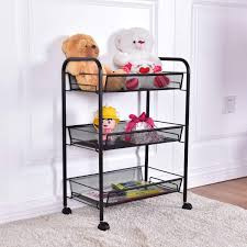 get ations custpromo 3 tier basket stand kitchen bathroom trolley full metal rolling storage cart with