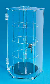 curio case acrylic rotating shelved display case with lock
