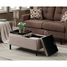 details about storage ottoman coffee table beige upholstery reversible tray top living room
