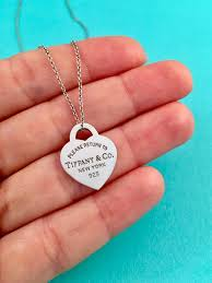 details about tiffany co silver small heart tag pendant necklace on a 18 inch chain