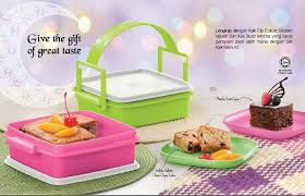 tupperware raya cake gift set 2x790ml 250g golden velvet choco chips