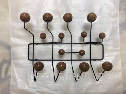 Wire Coat Rack Modern Design Fashion Popular Walnut Color Wood Ball Black Steel 88