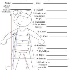 Childs Measurement Chart