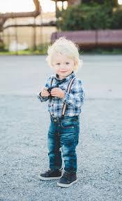 Toddler Boy Style Skinny Jeans Tie Suspenders Blonde Curly Hair