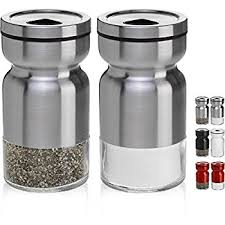 salt and pepper shakers. CHEFVANTAGE Salt And Pepper Shakers Set With Adjustable Pour Holes - Stainless Steel 2