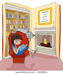 reading book on arm chair with cat open book with bookshelf and fireplace