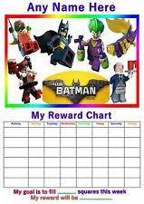 Lego Batman Reward Chart Personalised Childrens A4 Reward Behaviour Chart Lego Batman And Stickers