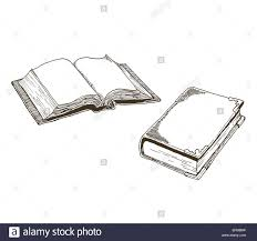 old antique books vector drawings of an open book and a closed vine book done in an ink drawn style cross hatching
