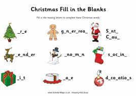 Christmas Fill In The Blanks Worksheet